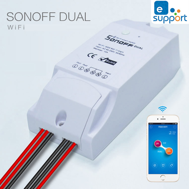 imágenes para Itead sonoff dual wifi inteligente interruptor de control remoto inalámbrico de casa inteligente interruptor de temporizador para la automatización del hogar inteligente diy