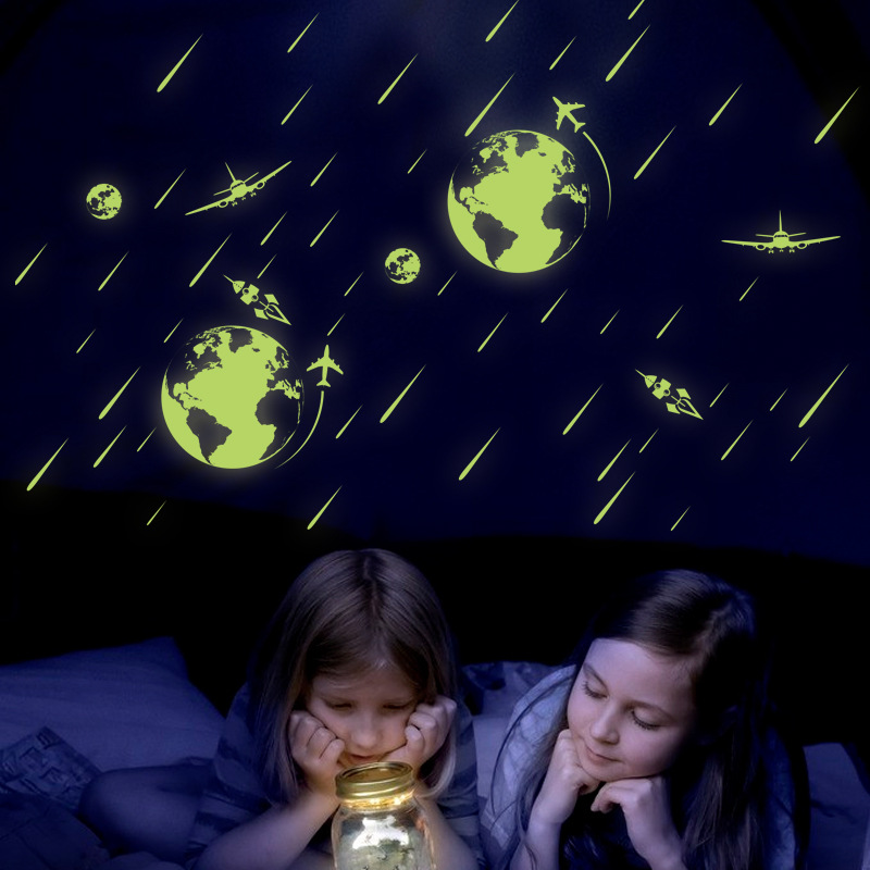 Glow in <font><b>the</b></font> dark space <font><b>meteor</b></font> shower wale <font><b>rocket</b></font> plane wall stickers muraux DIY wall paper for kids rooms home decor living room