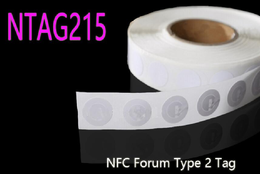 50pcs/Lot NFC NTAG215 Sticker 13.56MHz ISO14443A NFC Forum Type 2 Tag for Amiibo NFC Free Shipping