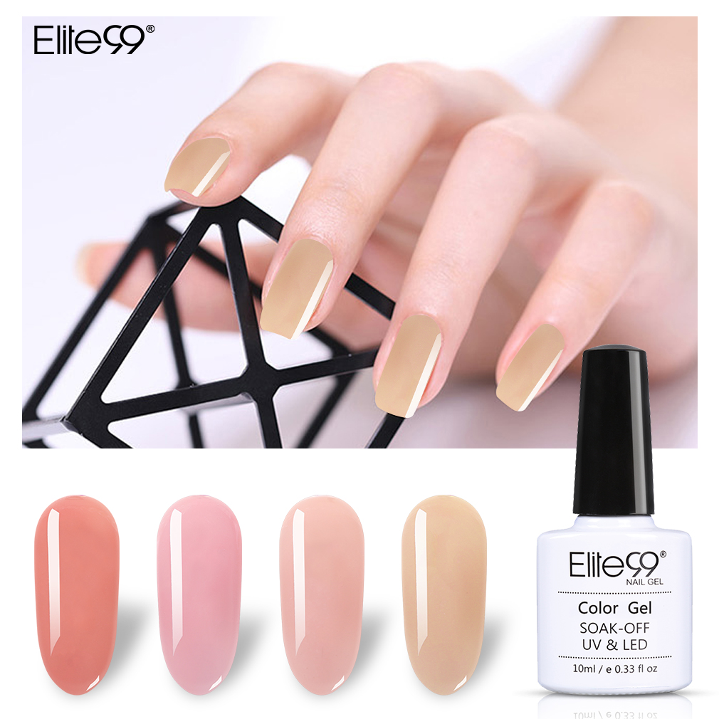 Elite99 10ml Jelly Nail Gel Polish Semi transparent White Pink UV ...