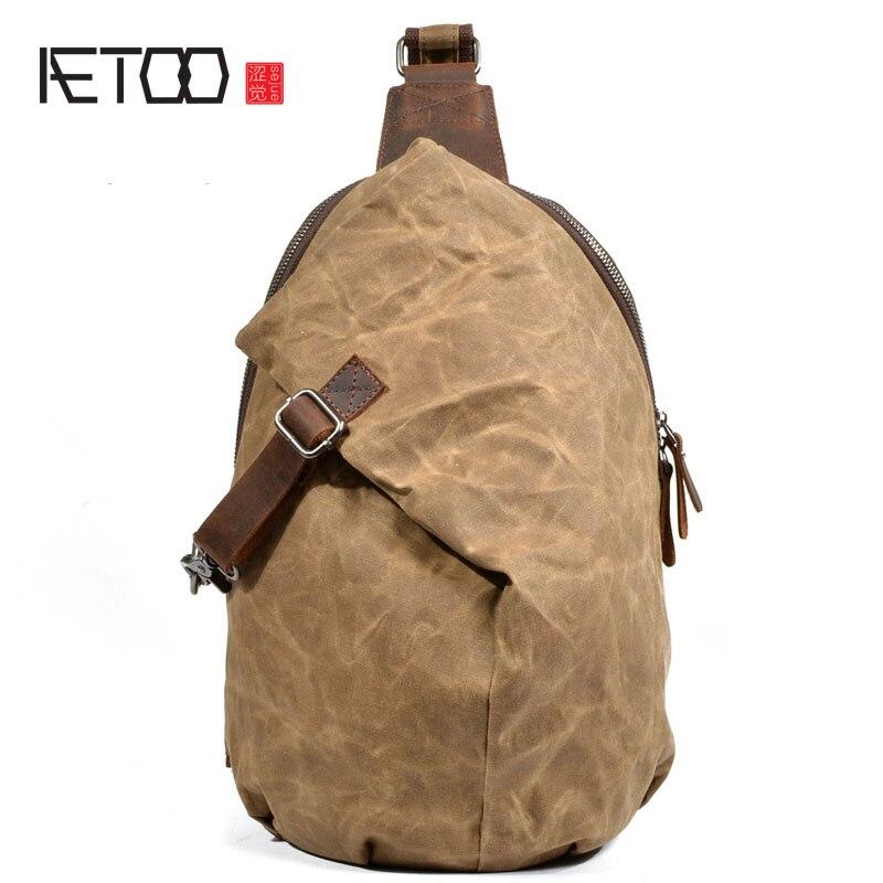 AETOO Europe et les Etats-unis rétro huile cire toile sac de messager imperméable à l'eau de grande capacité d'épaule sac taille sac hommes