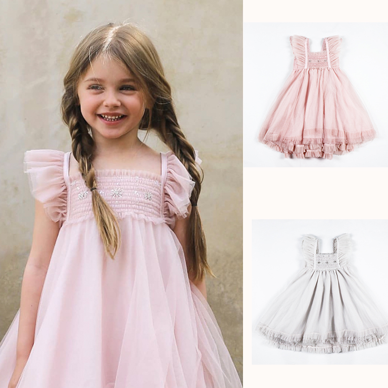 Mother & Kids Ins Hot 2019 Tutu Girl Ball Gown Dress Spring And Summer New Girls Baby Sleeveless Vests Dress Gauze Butterfly Embroidery Dress