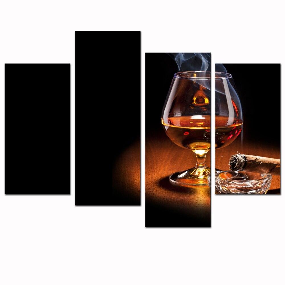 Moderne Segeltuchwandkunst für Wand, High Definition Bild Print Whisky und Zigarette Poster für Home Decor 4 Panel Schnaps Wand kunst