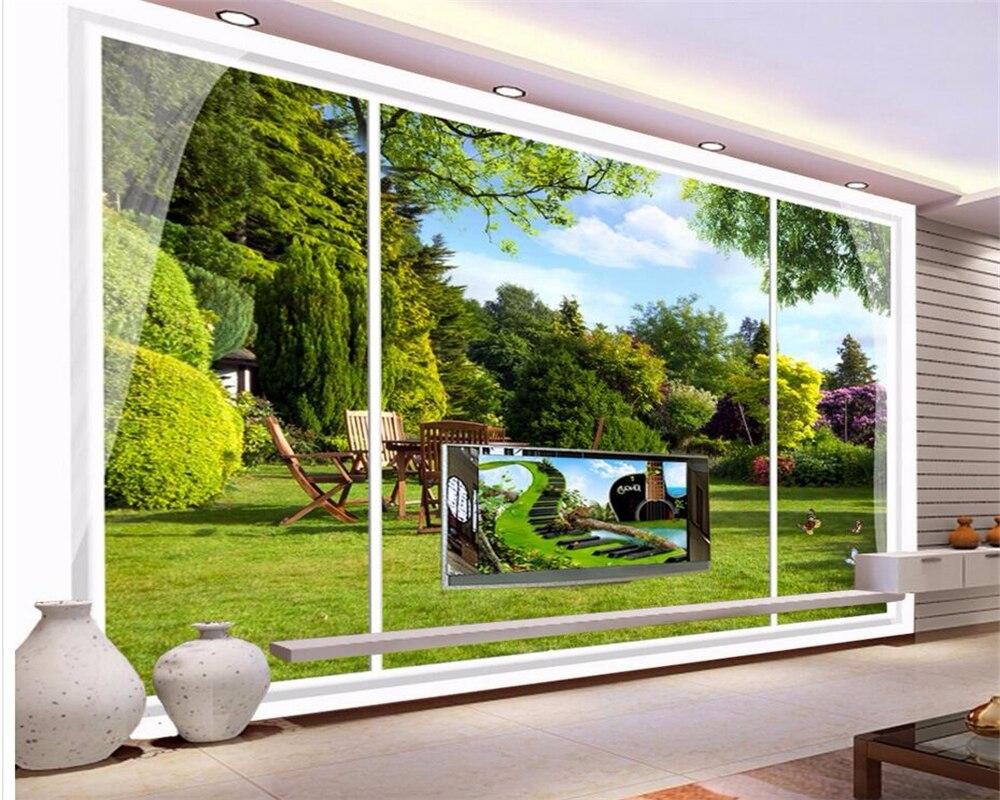 Beibehang Custom Wallpaper Windows Outdoor Garden View Stereo Jpg 1000x800 Nature Window Pretty