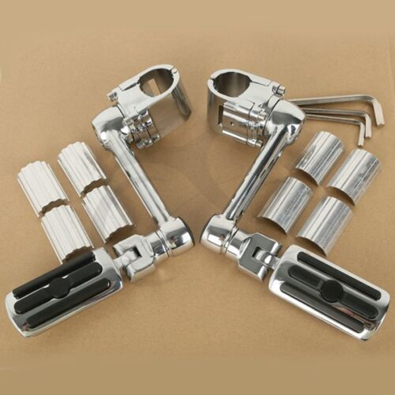 Motorcycle 1 1/4'' Highway Chrome Front Foot Pegs Footrest For Honda GL1800 GOLDWING 22mm 30mm 35mm