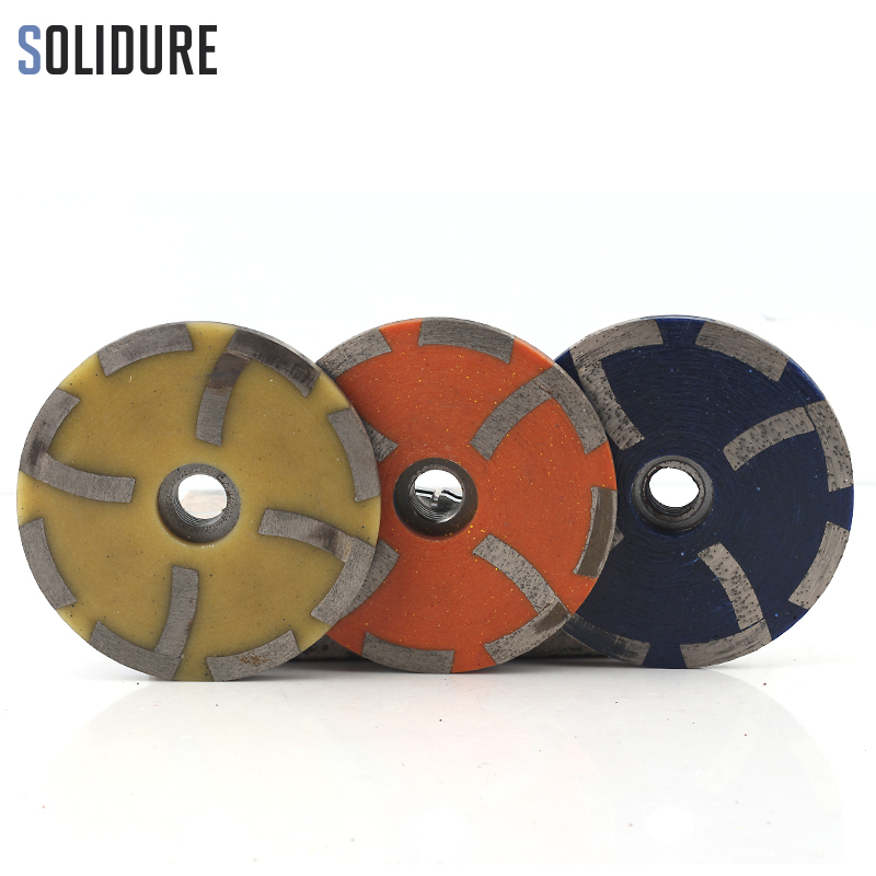 4 Inch 3pcs/set Resin Filled Diamond Grinding Cup Wheels Grinding Iron Backer For Grinding Stone,concrete And Tiles