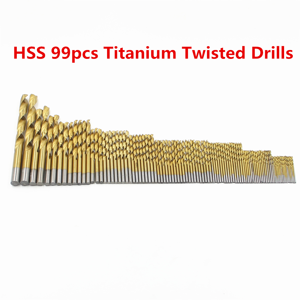99PCS HSS Twist Drill Bits Set 1.5-10mm With Titanium Coated Surface 118 Degree Drill Bit For Drilling Metal tool