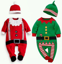 Christmas Xmas Clothes Romper Hat Outfit Costume Toddler Cartoon Kids Clothes Sets