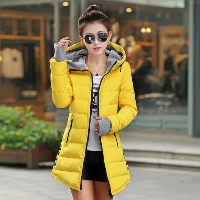 ФОТО 2017 Autumn Winter Jacket Women cotton-padded plus size Winter Coat Women Thicken Warm Parka female Hooded Overcoat M-XXXL