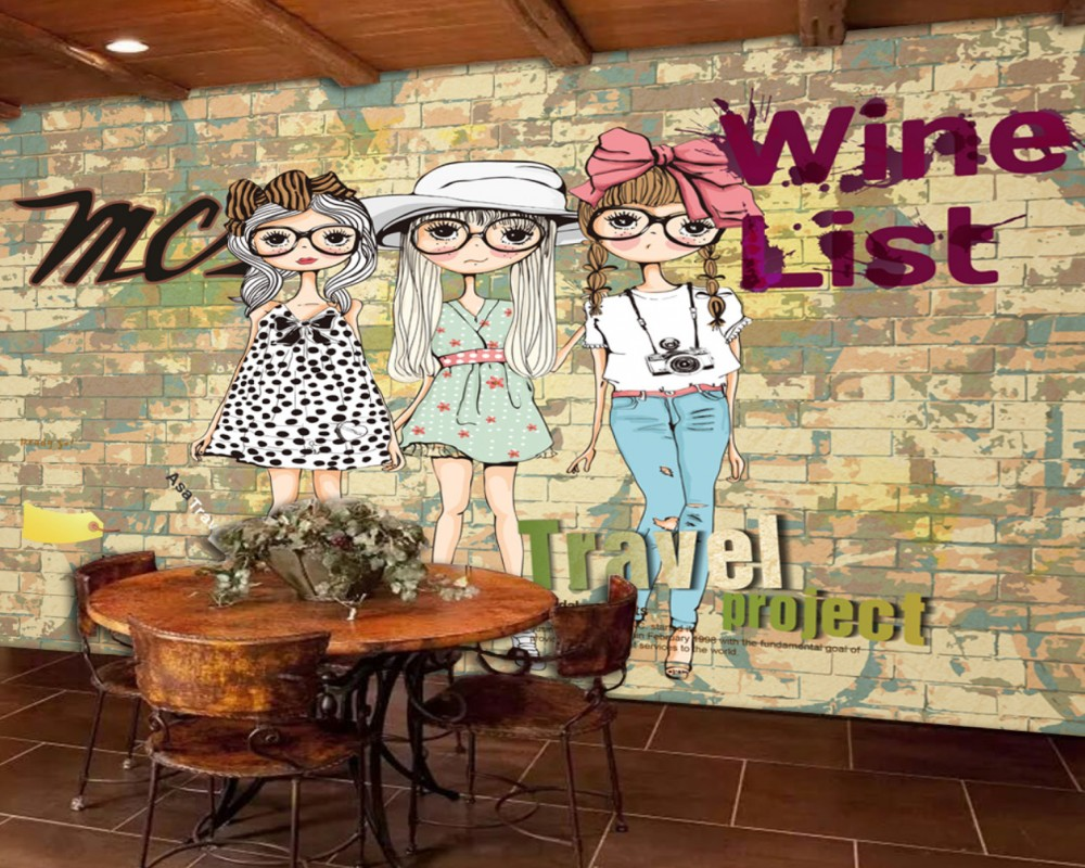 Free Shipping Wallpaper Bar Restaurant Background Wall Painting Cafe