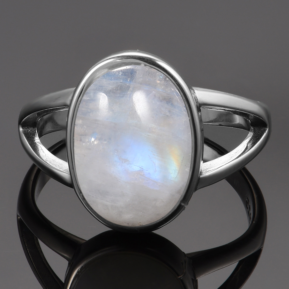New Vintage Fine Jewelry Hollow Out 10x14MM Big Natural Rainbow Moonstone Rings 925 Sterling Silver For New Vintage Fine Jewelry Hollow Out 10x14MM Big Natural Rainbow Moonstone Rings 925 Sterling Silver For Women Anniversary Gifts