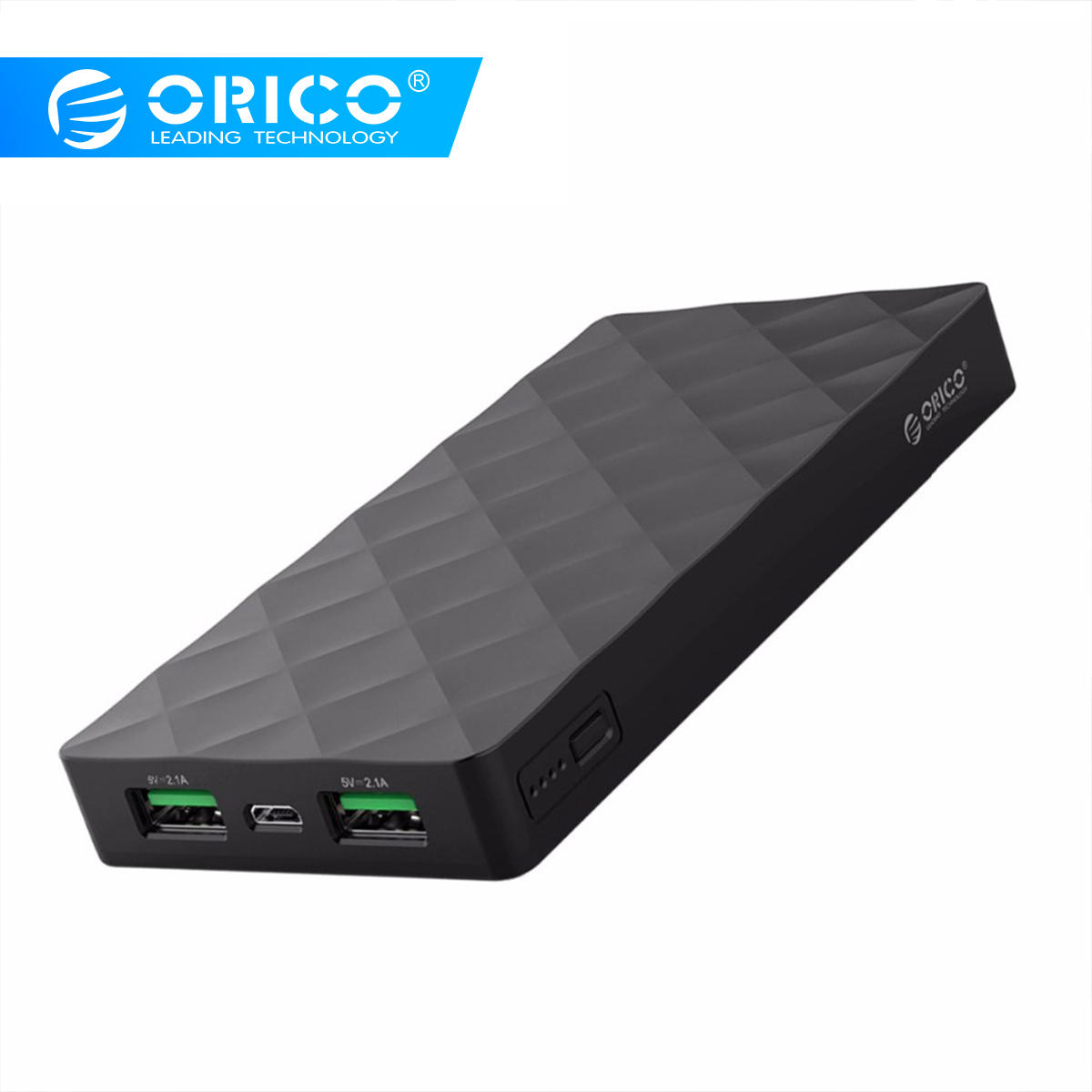 ORICO 10000mah Power Bank External Battery PoverBank 2 USB LED Powerbank Portable Mobile Phone Charger For Xiaomi Iphone Note 8