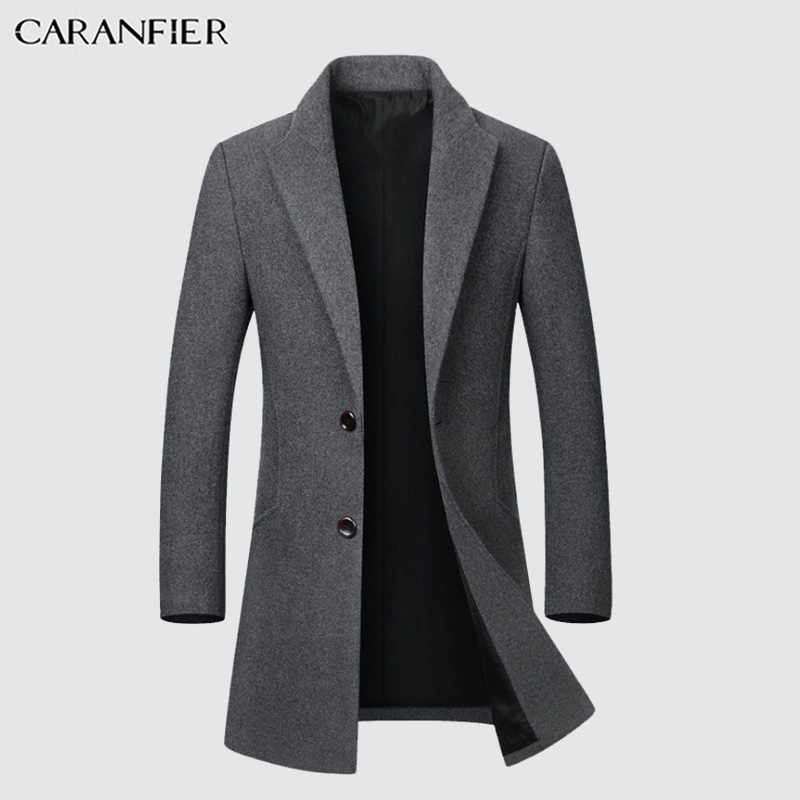 CARANFIER Mens Wool Coats High Quality Autumn Long Single Breasted Windbreaker Business Solid Color Slim Fit Jackets Overcoats