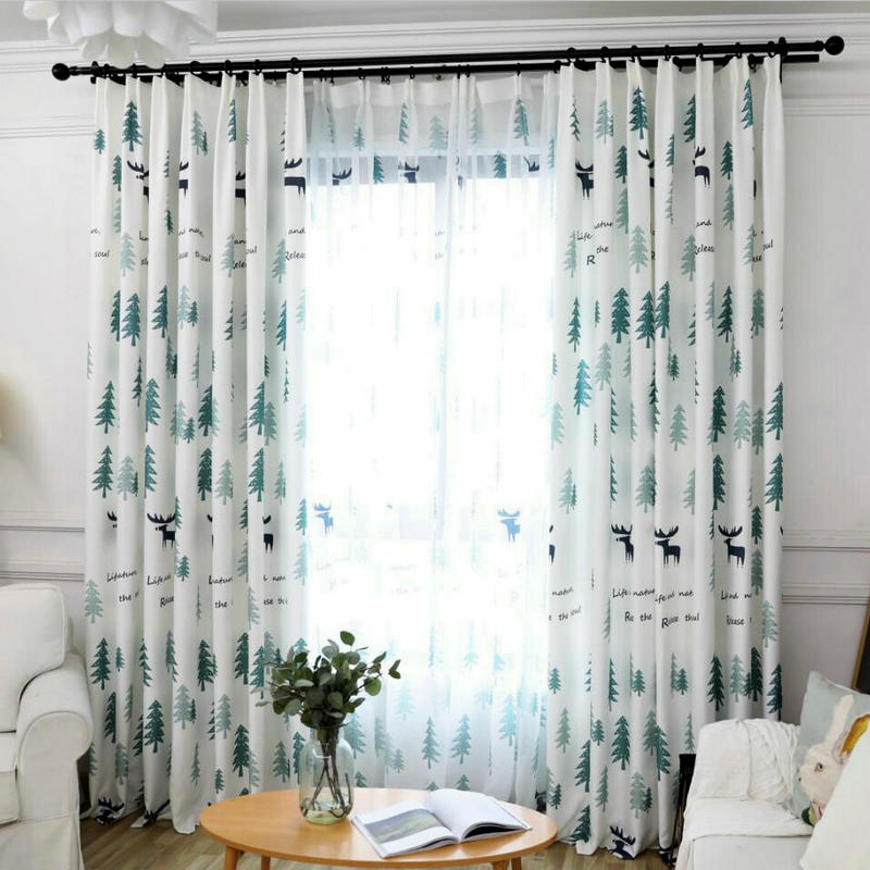 Cartoon Trees Curtains For Bedroom Cotton Linen Towel: Nordic Pattern Cartoon Christmas Tree Printed Blackout