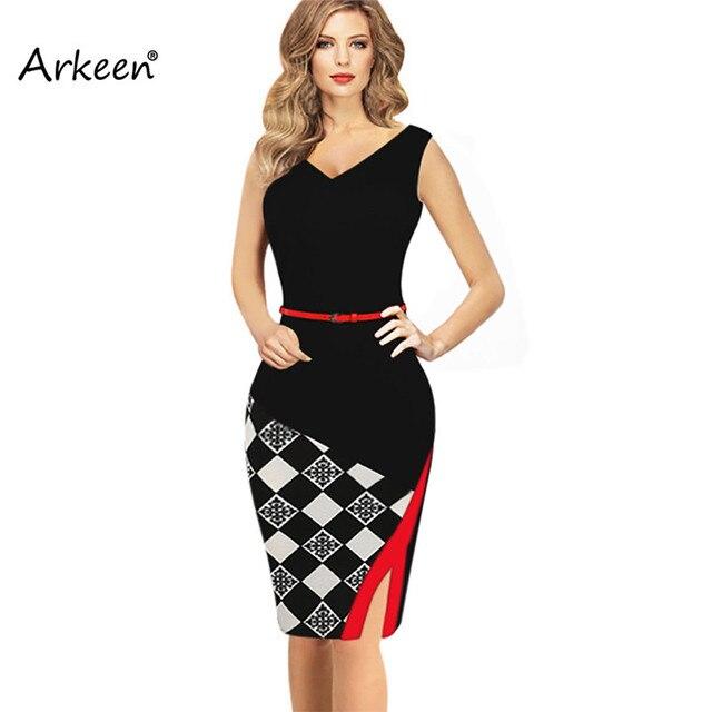 Arkeen Patchwork Sleeveless Plaid Print Midi Dresses Summer Women ...
