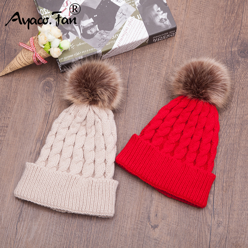 New Warm Winter Caps Hats with Fur Pom Poms for Women Female Girl 's Knit Cap Hat Solid Knitted   Beanie   Ladies   Skullies     Beanies