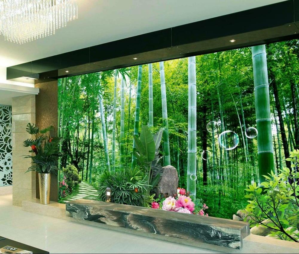 3d photo wallpaper modern papel de parede do desktop custom bamboo deer wallpaper non woven. Black Bedroom Furniture Sets. Home Design Ideas