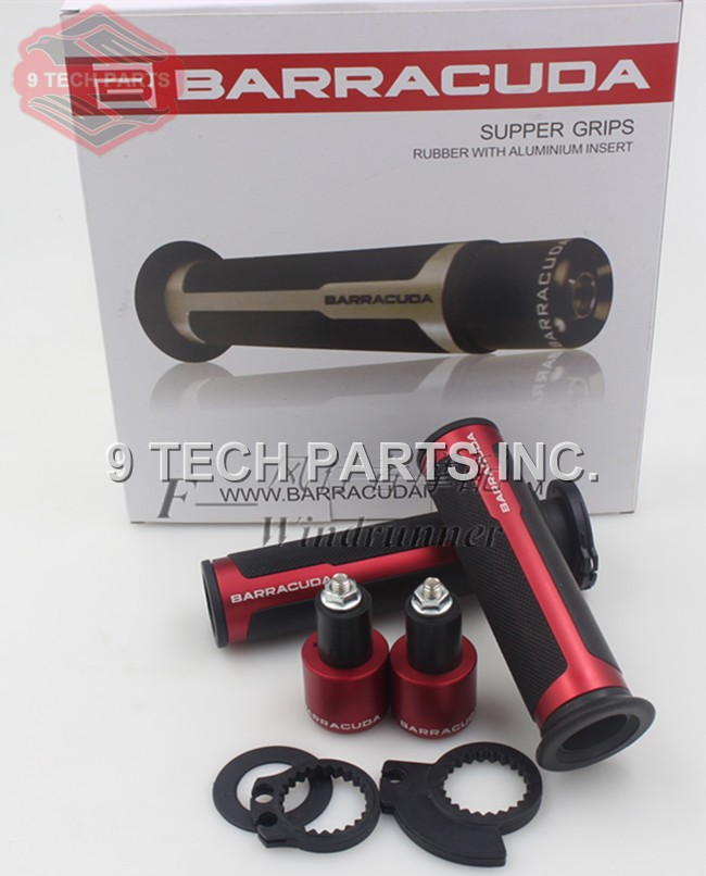 Universal BARRACUDA 22mm 7/8'' Street & Racing Moto Grips With End CNC Grip Motorcycle Handle Bar CAPS / Handlebar Grips Kit