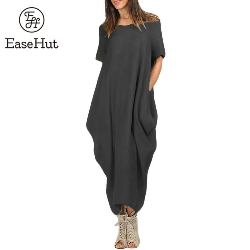 bdd455f995370 EaseHut Women Maxi Dress O Neck Pocket Summer Loose Casual Baggy ...