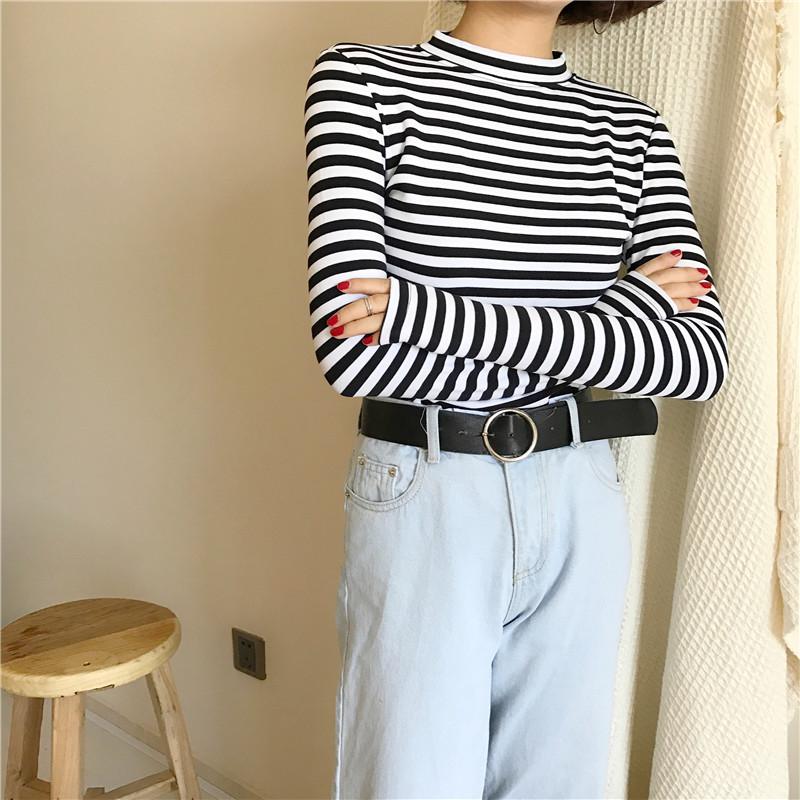 19 Korean Style Long Sleeve T Shirts Women New Hot Sale Student T-shirt Womens Fashion Harajuku Striped Female Slim Femme Lady 15