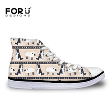 FORUDESIGNS Retro 2018 Women Vulcanize Shoes Casual Sneakers Border Collie Print Canvas Shoe High Top Lace-up Flats Dropshipping