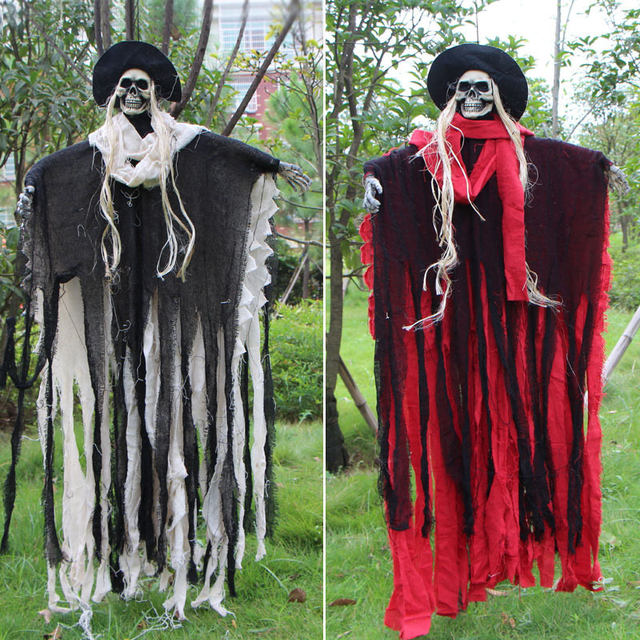 163cm halloween hanging ghost white red scary halloween ghost door living room ornament halloween party decorations