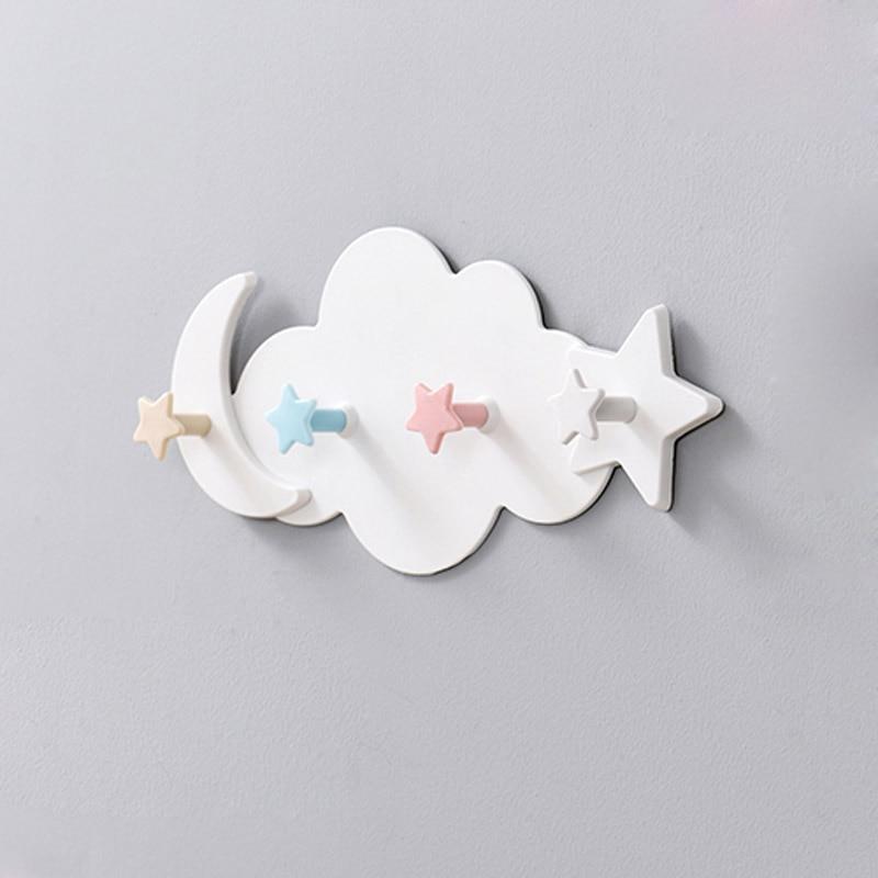 Creative Cute Star Moon Cloud Shape Nail-free Wall Clothes Hooks Kids Room Decorative Key Hanging Hanger Kitchen Storage Hook(China)
