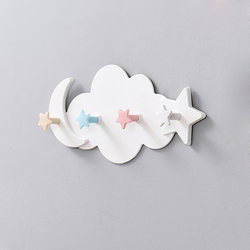 Creative Cute Star Moon Cloud Shape Nail-free Wall Clothes Hooks Kids Room Decorative Key Hanging Hanger Kitchen Storage Hook