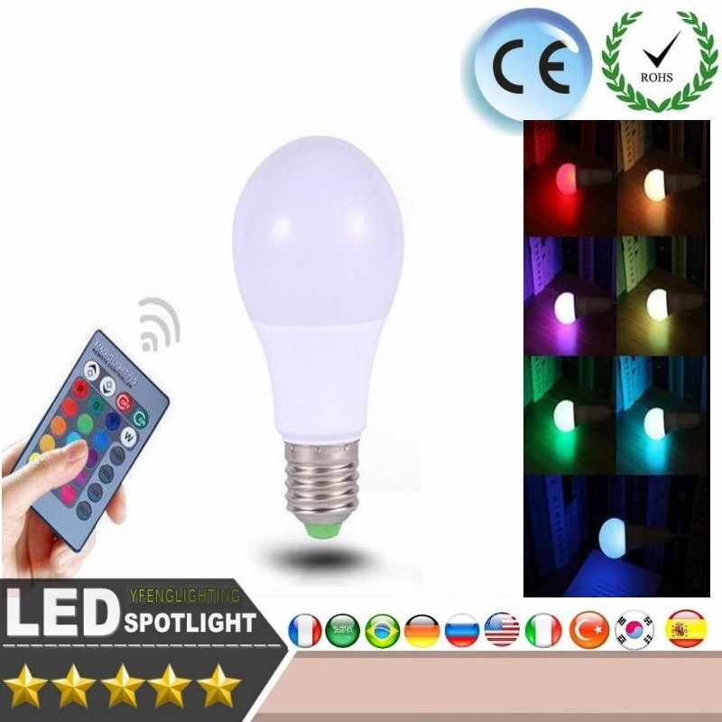 E27 RGB LED Bulb 5W 20W 30W 220V 85-265V LED Lamp 16 Colors with IR Remote Controller Lampada Lights for Home Holiday Decoration