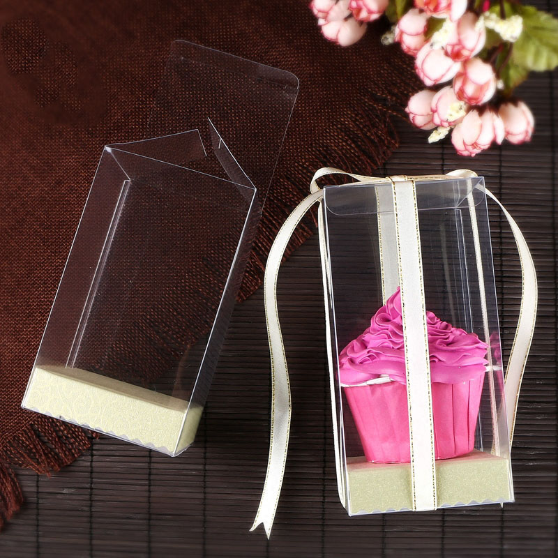 <font><b>20</b></font> PCS New arrival 7*7*Hcm Clear PVC Mother' <font><b>Day</b></font> Gift box Cute Doll display box Birthday&Wedding Cup Cake Packaging Box image