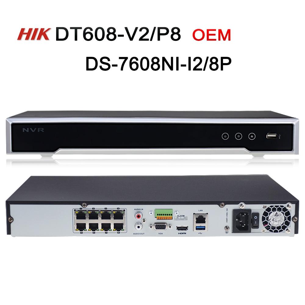 DS-7608NI-I2/8 p OEM NVR modèle DT608-V2/P8 8CH 8 POE NVR pour POE Caméra 12MP Max 2 SATA Réseau Vidéo Enregistreur