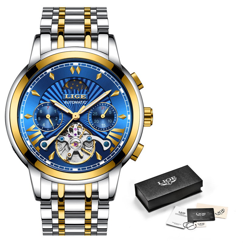 Image 5 - LIGE Men Watch Tourbillon Automatic Mechanical Watch Top Brand Luxury Stainless Steel Sport Watches Mens Relogio Masculino 2019-in Mechanical Watches from Watches