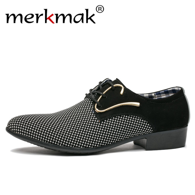Merkmak Men Leather Shoes Office Men's Dress Suit Shoes Italian Style Wedding Casual Shoes Pointed Toe Business Men Shoes
