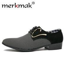 Merkmak/мужские кожаные туфли для офиса, Мужские модельные туфли в итальянском стиле, повседневные свадебные туфли с острым носком, деловые мужские туфли