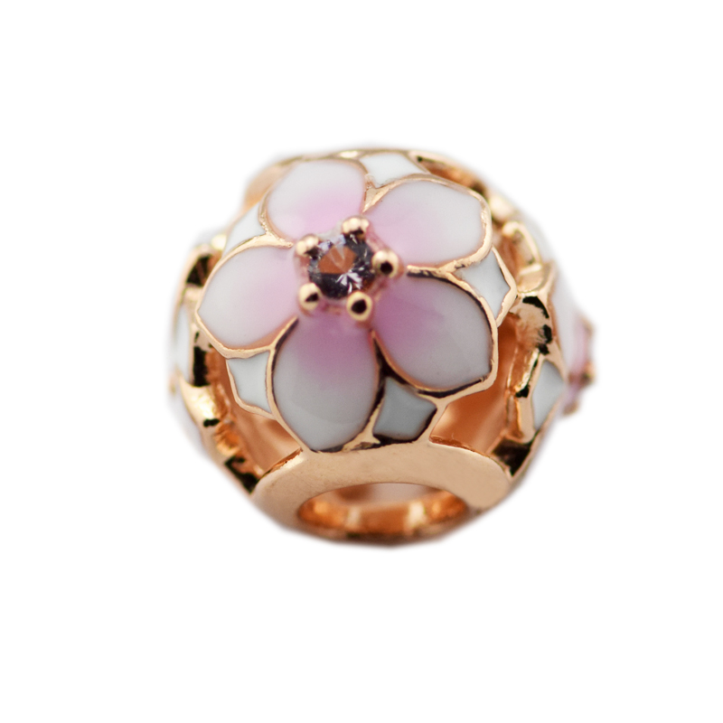 Pandulaso Magnolia Bloom Pink Charms for Jewelry Making Spring Rose Golden Flower DIY Jewelry Fit Fashion Silver 925 Bracelets