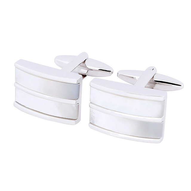 Homens Acessórios de Moda Francês Camisas de 2 Botões no Punho 1 Par Vêm Com CAIXA de Presente Da Marca de Varejo Pérola Cuff Links