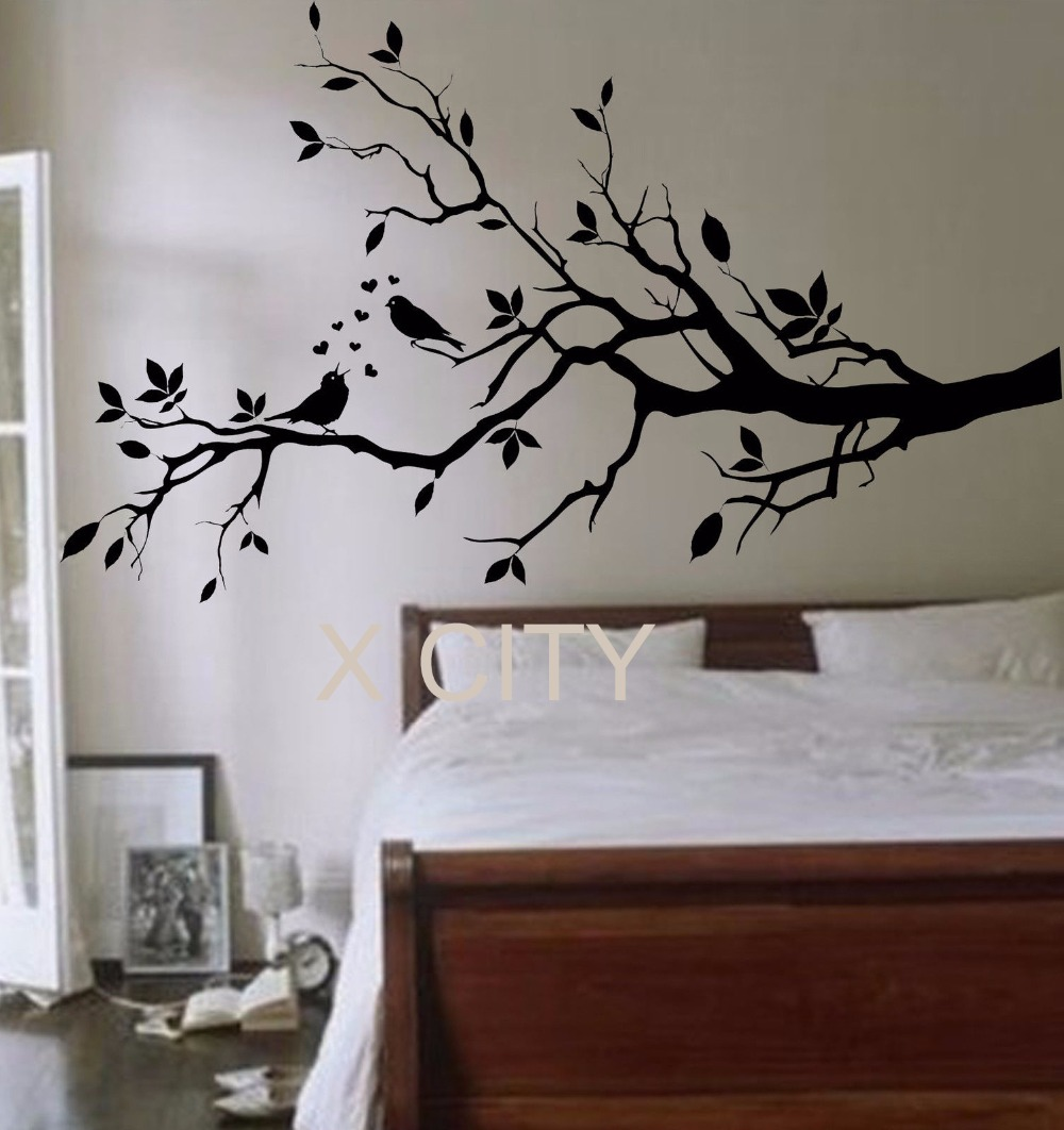 Birds On A Branch Tree Birds Giant Wall Sticker Vinyl Art Decal Window Door  Kitchen Stencil