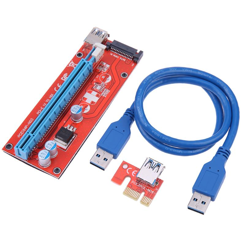 60 см PCEI64P N03 007S PCI E расширитель переходная карта PCI Express 1X до 16X Рейсер плата USB 3,0 кабель SATA шнур питания для BTC Mining|Компьютерные кабели и разъемы|   | АлиЭкспресс