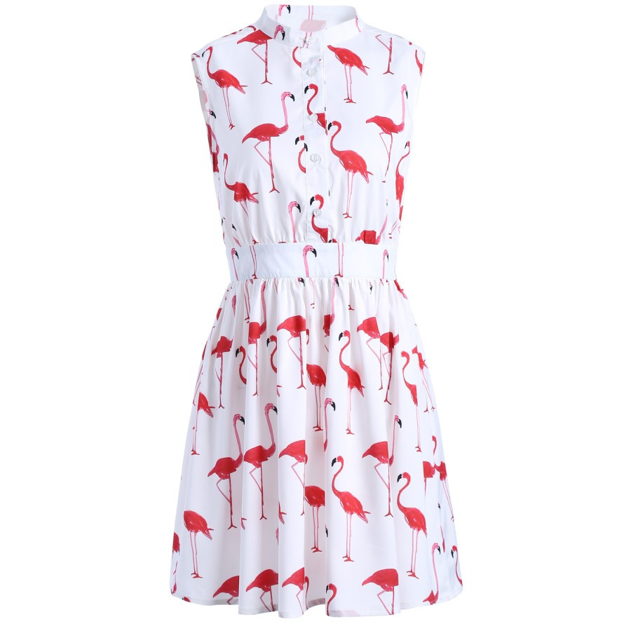 Ciysty2017 New Women Fashion Sleeveless Flamingo Bird Print Pleated Dress White Turn Down Collar Ladies Casual