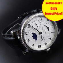 Parnis Hand Wind Men's Watch PVD Case Blue Hands White Dial Black Leather Band M
