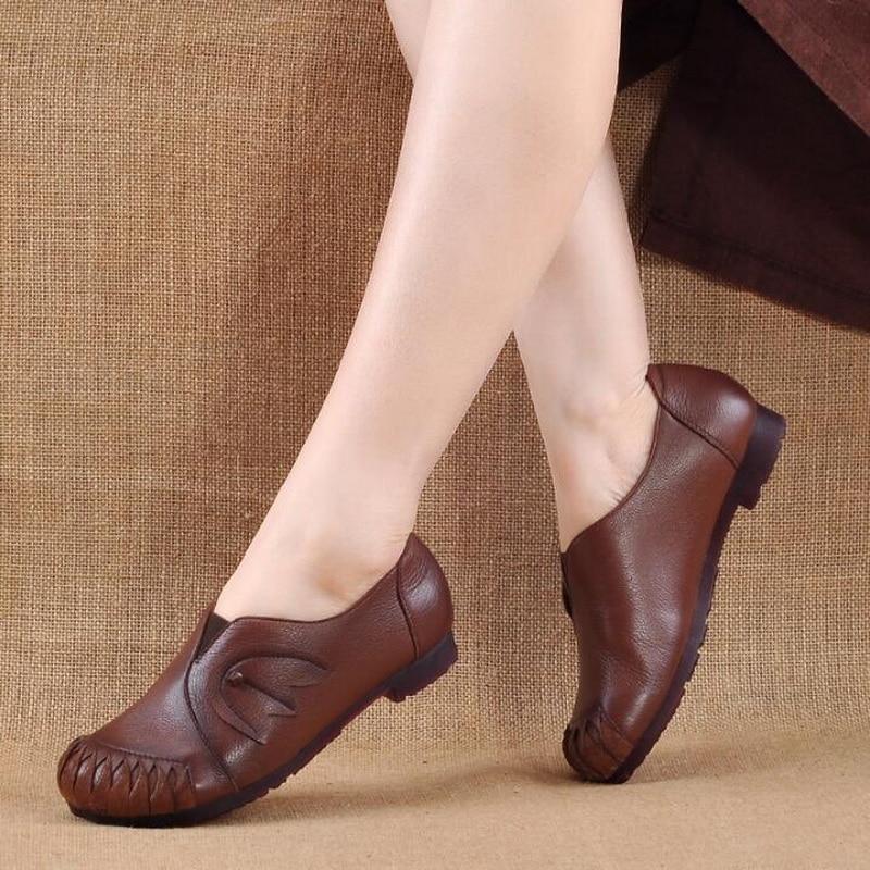 on Suave Primavera Mocasines Mujer De Estilo Genuino Casuales Zapatos Retro Slip Mano Negro Étnicos A Cómodos Cuero Fondo marrón Hecho qxFBq6X
