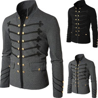 Man Purim Victorian Gothic Style Jacket Zipper Christian Medieval Knight Coat Solid Middle Ages Male Carnival costume
