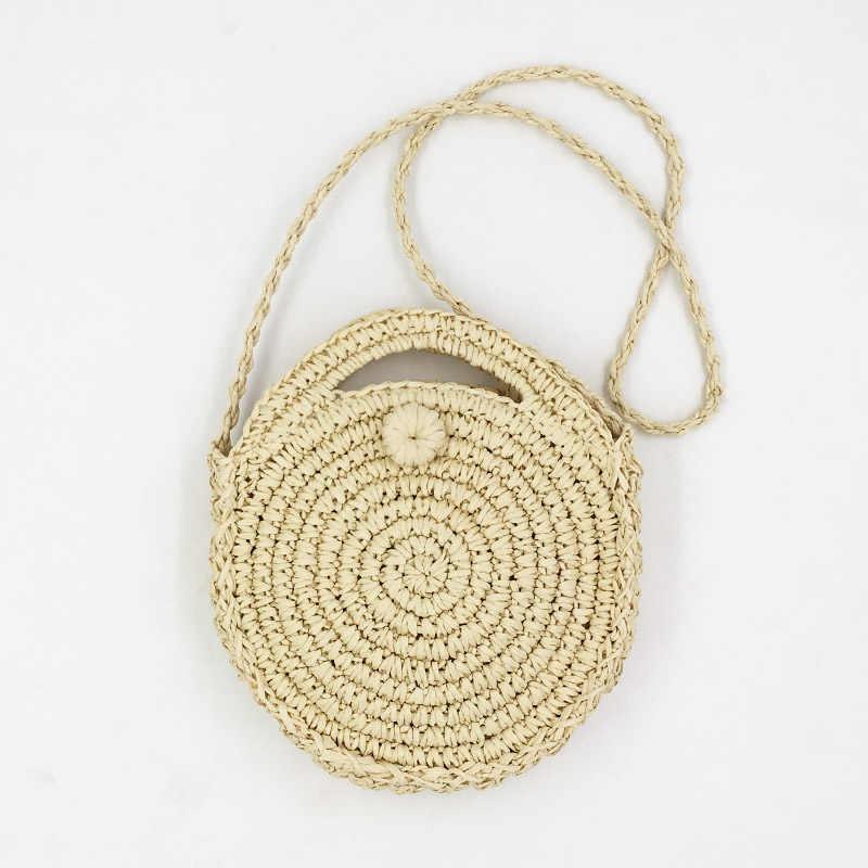 Rerekaxi rattan feito à mão tecido redondo senhora bolsa palha malha verão praia saco mulher ombro mensageiro saco bege caqui tote