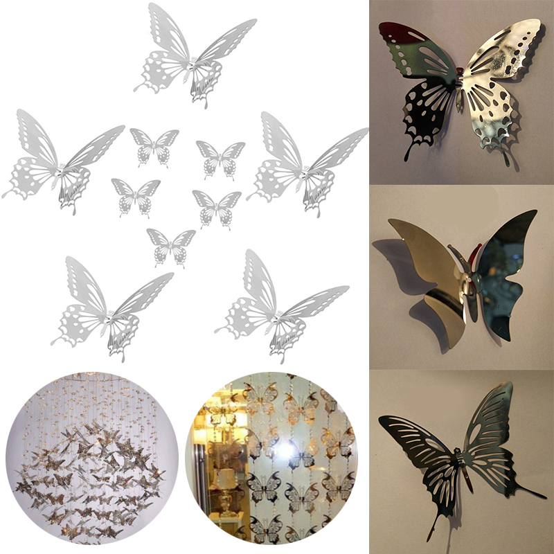 New Arrival 10pcs 3D Stainless Steel Butterfly Wall Stickers Mirror Decals  DIY Wall Hanging Decoration(