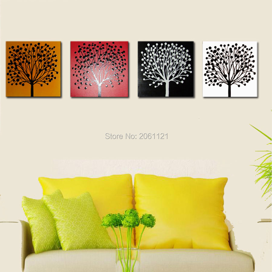 hand painted 4 season tree painting modern abstract canvas picture wall art sets living room decorative group pieces in Painting Calligraphy from Home Garden