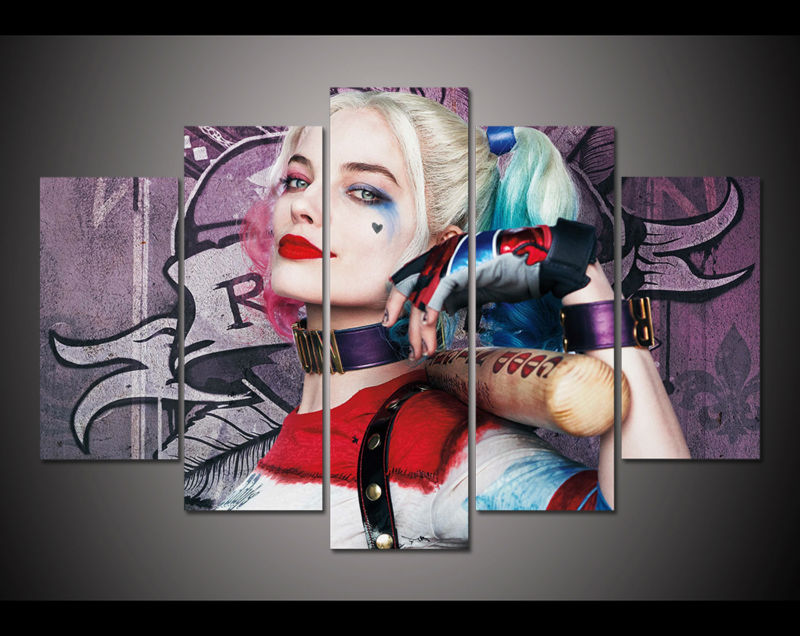 5 panel HD printed painting Suicide Squad harley quinn canvas print art home decor wall