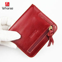 [WHORSE] Brand Logo New Fashion Small Wallet Women Luxury Brand Genuine Leather Zipper Wallets Ladies Short Purse For Girls