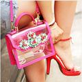 women rhinestone flower shoulder bag transparent bags crystal & pearl embellished women fashion bag