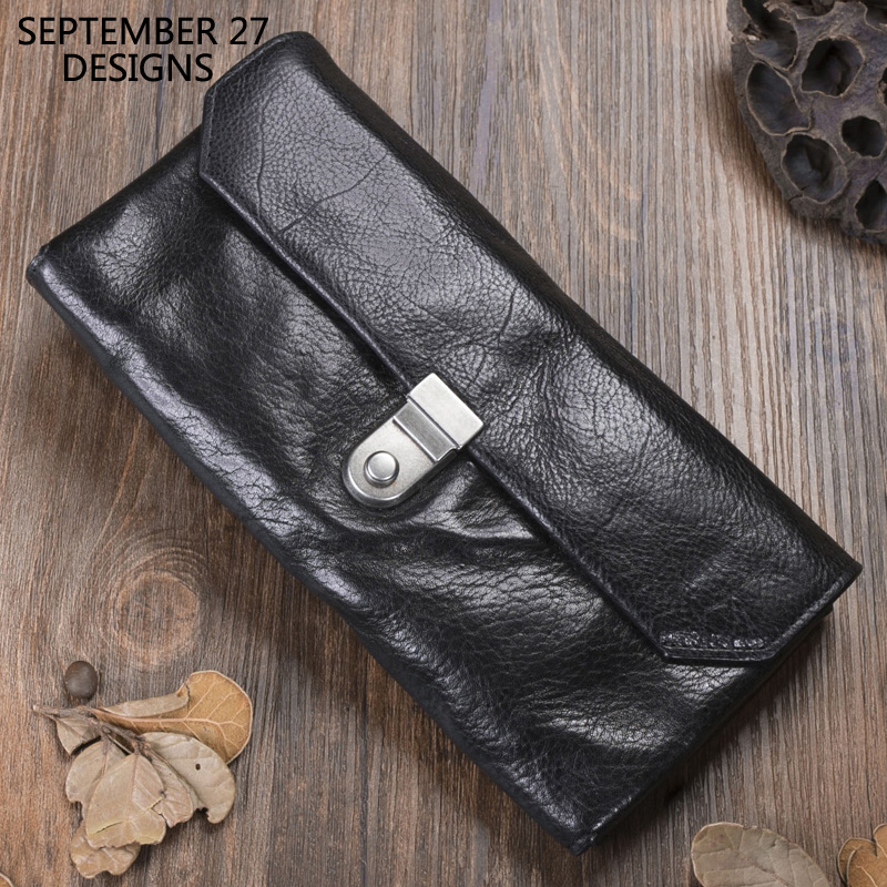 Men's Clutch Wallets First Layer Cowhide Leather Retro Women Long Wallet Phone Purses Travel Credit Card Purse Vintage Money Bag
