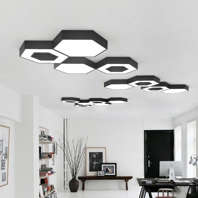 Designer lamp Nordic bedroom lamp simple modern living room lamp combination geometric honeycomb LED ceiling light